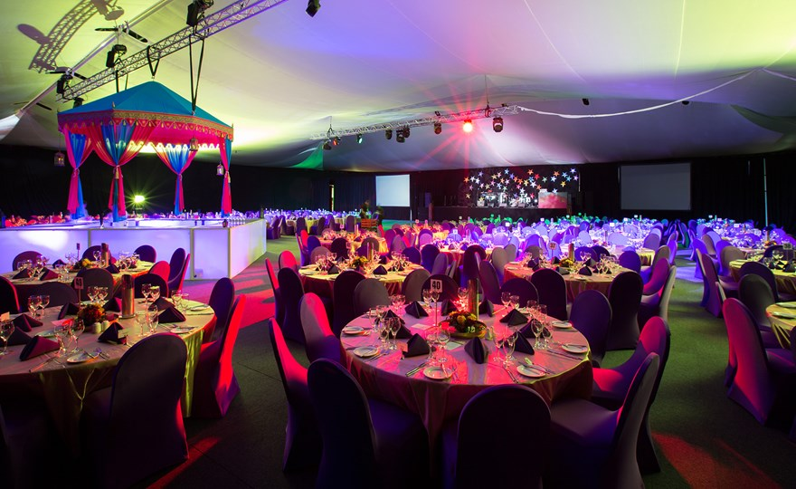 Corporate Arabian nights themed ball table setting at HBF Stadium