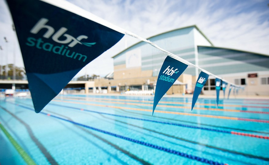 HBF Stadium outdoor 50m pool carnival flags
