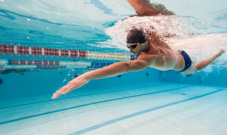 Man swimming laps for fitness at HBF Arena